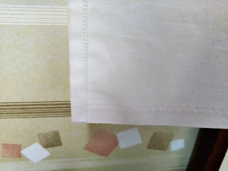 三つ折り縫いの仕上がり