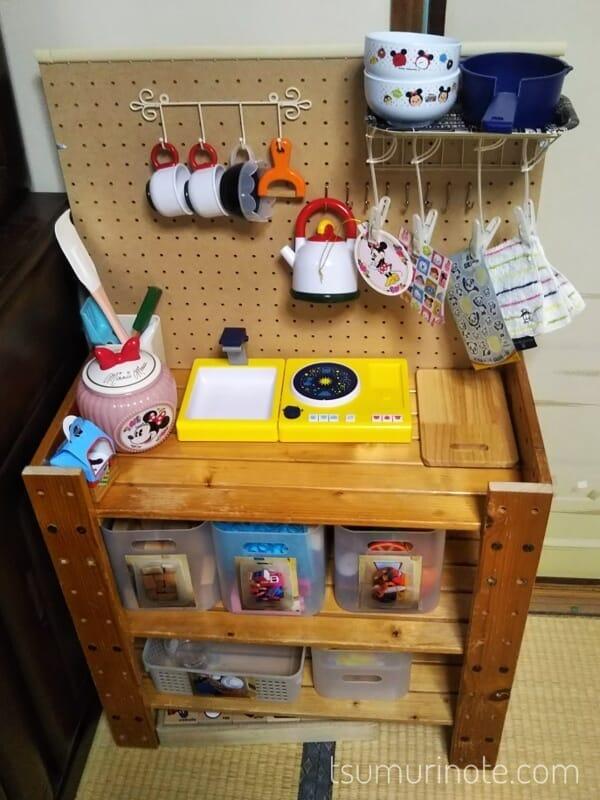 ままごとキッチン風おもちゃ棚の全貌