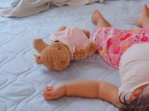 シュタイフのおやすみクマちゃん、寝る