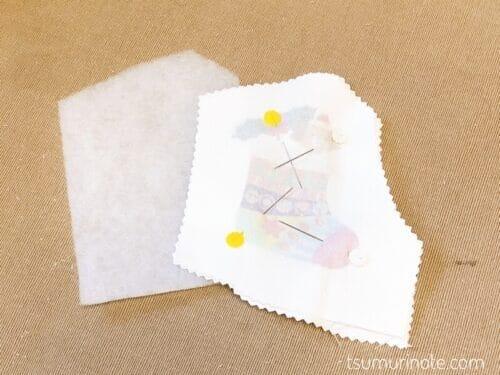 布を中表に合わせキルト芯を重ねる